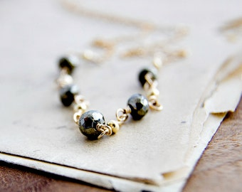 Pyrite Necklace Gold Christmas Gift Metallic Bronze Stone