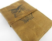 Leather Journal - Leather Sketchbook Cover - Personalize - Monogram - Owl
