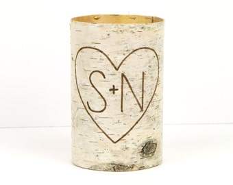 One medium birch bark vase with free engraving