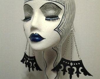 Dangling Denim Fabric Earrings w/ Silver Chain, Womens Earrings, Large Earrings. Long Earrings, Handmade Earrings, Fashion Earrings