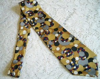 Vintage 1970s Mens Psychedelic Era Silk Necktie Spherical Design Tie