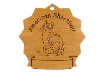 7039 American Shorthair Cat Personalized Wood Ornament