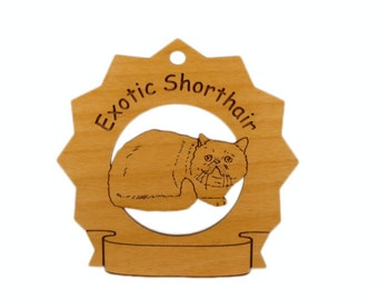 7170 Exotic Shorthair Cat Personalized Wood Ornament