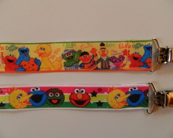 Sesame Street Girl or Boy PACIFIER Holders. Set of 2. Baby Shower Gift. Universal, Soothie, Mam, Avent, Gumdrop or Nuk