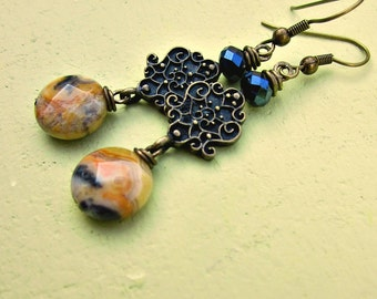 Yellow Agate and Glass Fancy Rustic Brass Dangle Earrings: Deeta