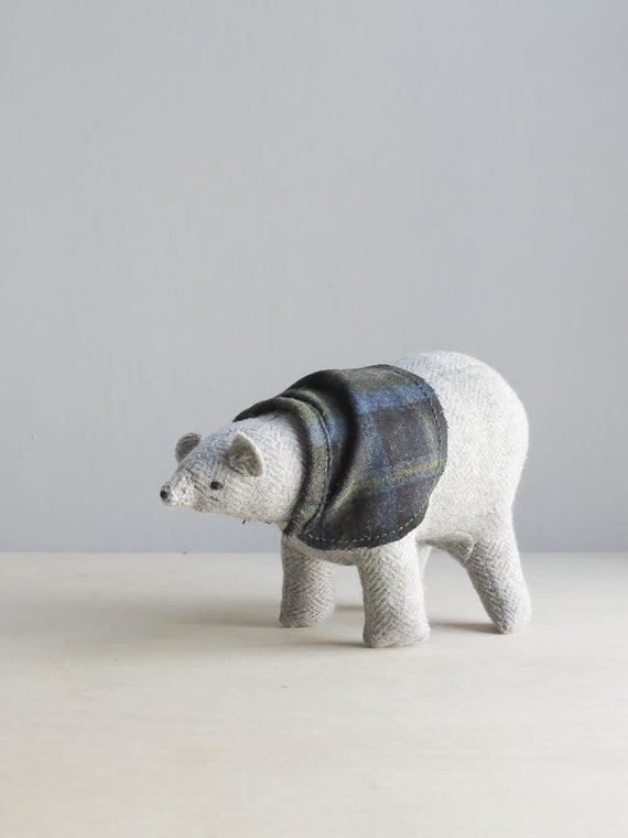 polar bear with a pendleton cape / soft sculpture animal