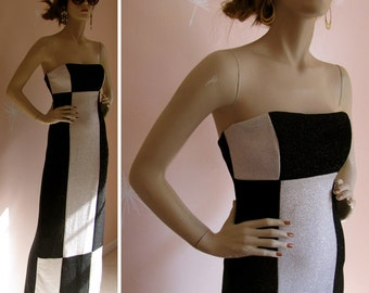 Vintage 1980s Black and White Checkerboard Metallic Sparkle Strapless Evening Gown