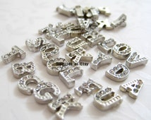 2 Initials Memory charms-Silver- Rhinestone Letters Floating Charm Flat back-Alphabet-Gold or silver DIY Personalize living lock style-rock