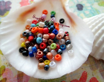 Best Deal on Etsy Confetti African glass Seed Beads  4mm, Rainbow Colour Seed, multicolor 4mm Seed Beads-Global bulk assorted spacer beads