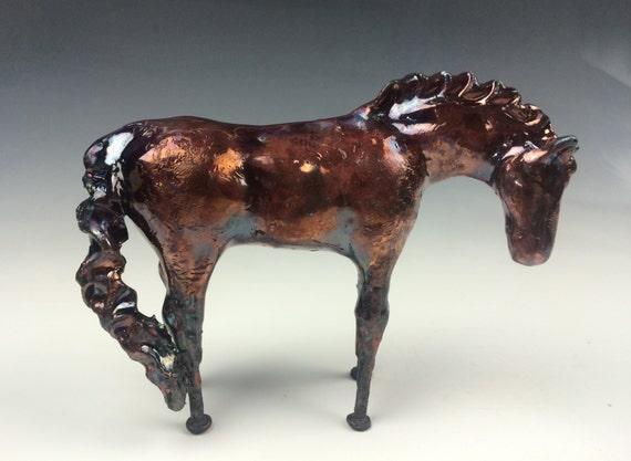 Copper Raku Horse 590 FREE SHIPPING