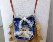 Antique Lace Necklace Denim Pocket Wearable Art to Wear Boho Chic Vintage Steampunk Jewelry
