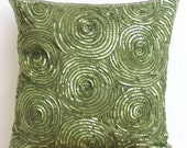 Decorative Throw Pillow Covers Accent Pillow Couch Sofa 16 x 16 Green Silk Pillow Case Sequins Embroidered Touch Of Envy Bedding Home Decor