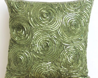 Decorative Pillow Sham Cover Accent Pillow Sham Sofa 24x24 Green Silk Pillow Sham Case Sequins Embroidered Touch Of Envy Bedding Home Decor