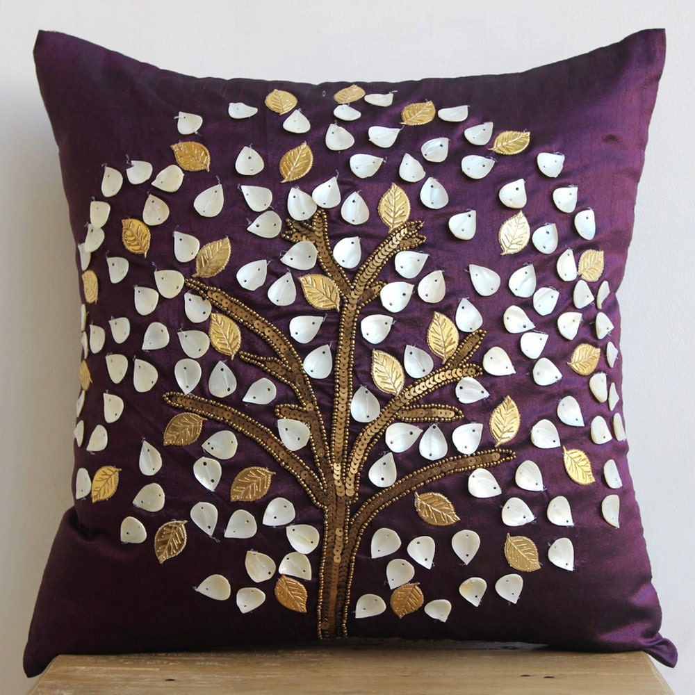 Luxury Silk Throw Pillows : Luxury Plum Pillow Cases 16x16 Silk Throw Pillows