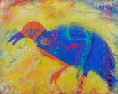 Raven Upscaled original abstract wildlife oil painting