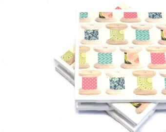 Tile Coasters - Spools of Thread
