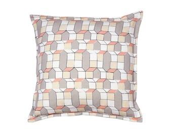 Cushion – Geometric casas design pink-grey