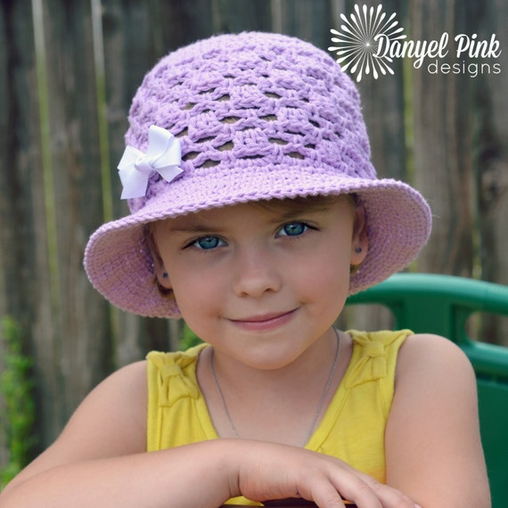 Lady Mary Sun Hat CROCHET PATTERN - cotton brimmed ascot