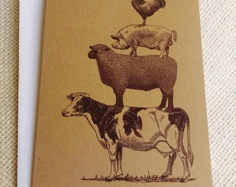Rustic Farm Animals Cards, Cow Sheep Pig Rooster, Set of 10