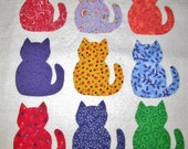 9 Scrappy Fat Cat Appliques -- Just Iron On  ..Worldwide Shipping