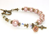 Anglican Rosary Bracelet, Rose Pearls & Brass, for Teens or Women