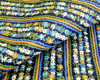 Vintage Cotton Yardage - Small Floral Stripes - Orange and Cyan on Deep Navy