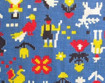 Vintage Cotton Yardage - Folk Print in Red Yellow Blue Black Alpine Motif