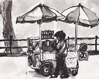 Pen and Ink  Sketch Drawing NYC Central Park Food Vendor Cart Black and White Print