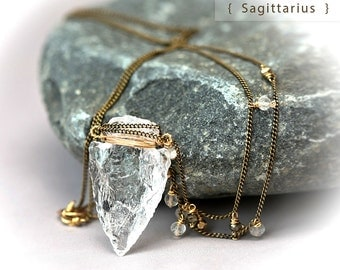 Sagittarius - Clear Crystal Arrow Head Hand Carved Gold Filled Wrapped Long Tribal Necklace