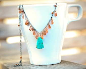Grand Canyon - Turquoise and Sunstone Mixed Metal Necklace