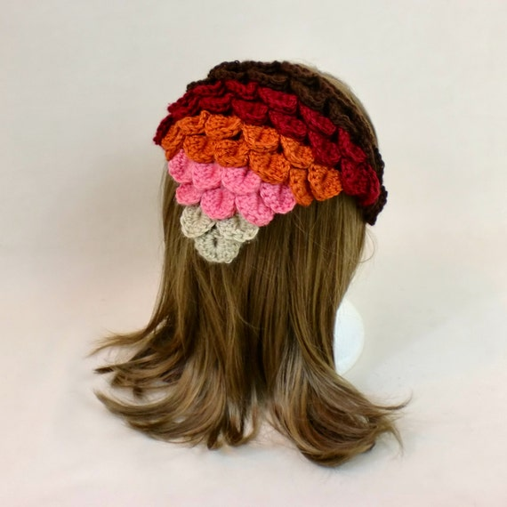 Crochet Hair Kerchief Pattern : Headband Hair Kerchief - Ombre Crochet Bandana - Dragon Scale Head ...