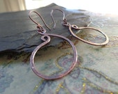 Rustic Paisley Earrings, Hand Forged Copper Jewelry, Organic Copper Earrings