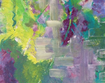 A SUNDAY FEELING Abstract Painting original acrylic 10 x 20 Green Purple Direct From The Artist