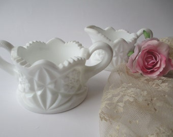 Vintage Textured Milk Glass Cream & Sugar Set