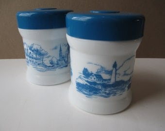 Vintage Blue White Milk Glass Boat Scene Jar Pair