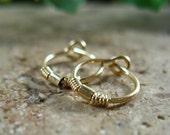 Hoop Earrings Gold Split Wrap Gold Bead - Gold Hoop Earrings, Minimal Hoop Earrings, Tiny Hoop Earrings, Beaded Hoop Earrings, Discreet