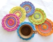 SALE - Set of 6 Funky Spring Crocheted Coasters