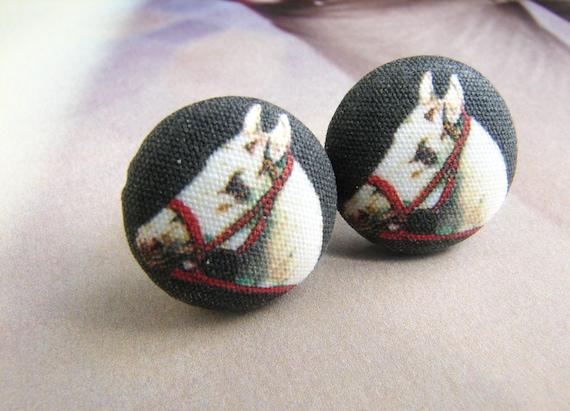 White horse studs, black white horse earrings, artsy illustration horse studs, equestrian earrings