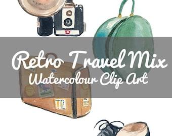 Travel Clip Art - Watercolor Illustrations, Digital Collage Sheet, Retro, Vacation, Instant Donwload