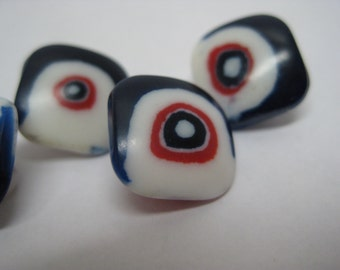 Red White Blue Buttons Modern Vintage Plastic Four