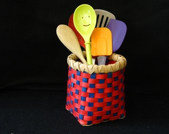 Hand Woven Basket in Cherry Red and Royal Blue. Storage basket. Basket. Hand made baskets in fun colors!