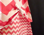 A-line SKIRT - Double layer Peek a Boo Detail - Riley Blake - Pink & White Chevron - Made in ANY Size - Boutique Mia