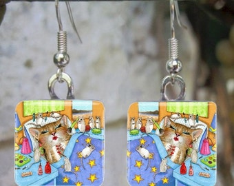 Art Glass Earrings Jewelry square Cat 508 mouse funny painting by L.Dumas