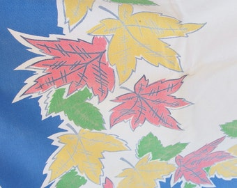 Vintage 1950's Yellow and Coral Leaves with Blue Border Cutter Tablecloth, 64 x 52 Inches
