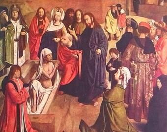 The Resurrection of Lazarus by Geertgen tot Sint Jans - an Original, Frameable 1954 Art Print