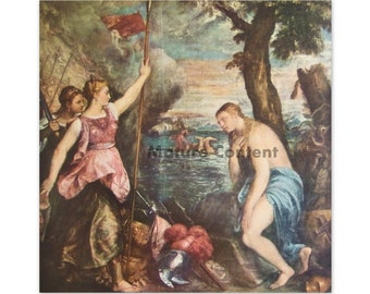 Religion Succored by Spain, by Titian - a Frameable Vintage 1955 Art Print