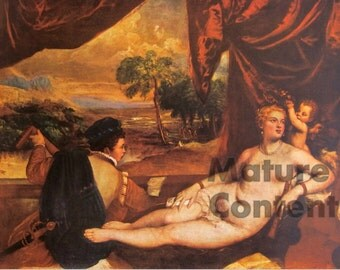 Venus and the Lute Player, by Titian - a Frameable Vintage 1955 Art Print