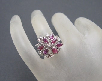 Vintage Sterling Ring Unusual Tall Marquise Rubies Jewelry R5824