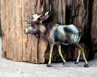 Moose Brooch  Woodland Animal Brooch  North American Wildlife Series  Antlers