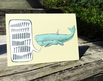 Yellow Whale Birthday Card